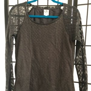 Anthropologie One September grey lacy sweater